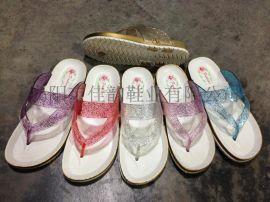 揭阳厂家女款闪粉鞋带塑料拖鞋