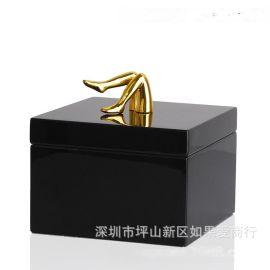 黑色金色正方形木质烤漆金色腿合金首饰盒欧式创意客厅卧室摆件