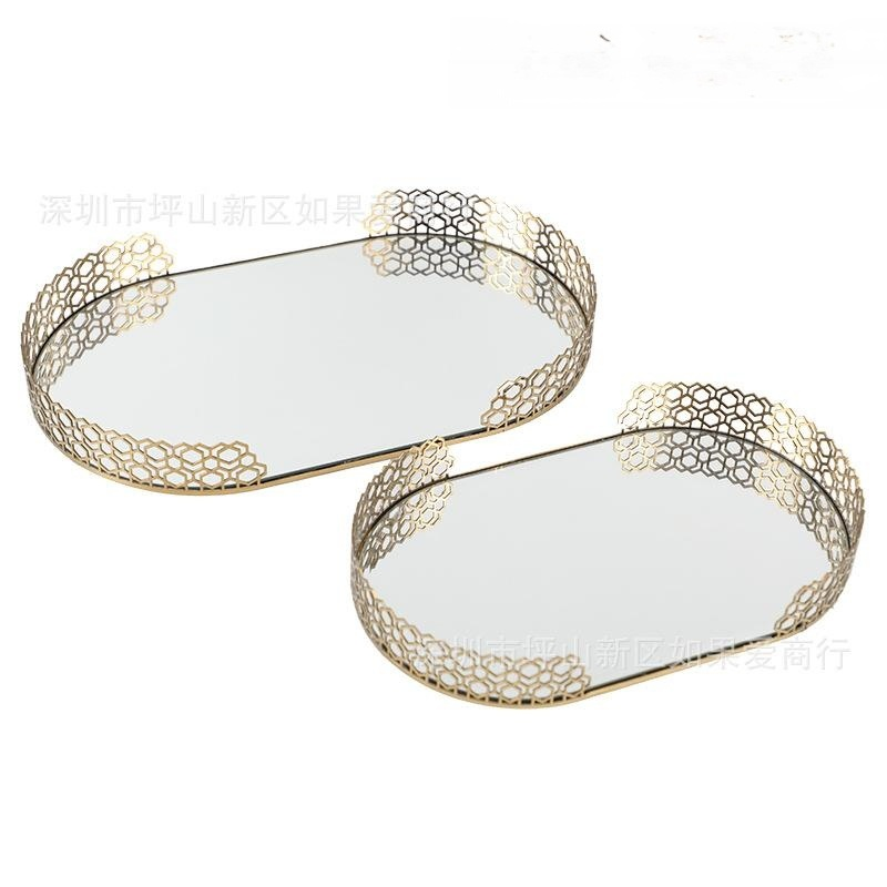 古铜色铁玻璃镜面金色铁艺金属椭圆形托盘酒店软装饰品摆件创意