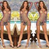 速賣通亞馬遜爆款情趣絲襪批發性感網紋情趣彩條袖子連身短裙內衣