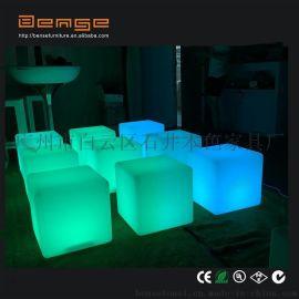 DMX功能发光塑料方块凳子户外休闲凳环保换鞋凳子