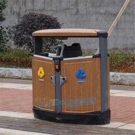 公园钢木垃圾桶小区环卫分类垃圾桶室外垃圾箱