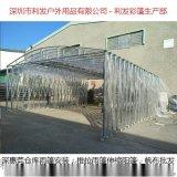 深圳透明帆布雨篷制作,仓库饭店透明雨篷围布安装