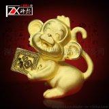 绒沙金猴子摆件 千足金招财纳福猴子礼品 保险金融赠品