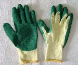 10针棉纱乳胶起皱手套 加厚手套 防滑手套 搬运工作手套