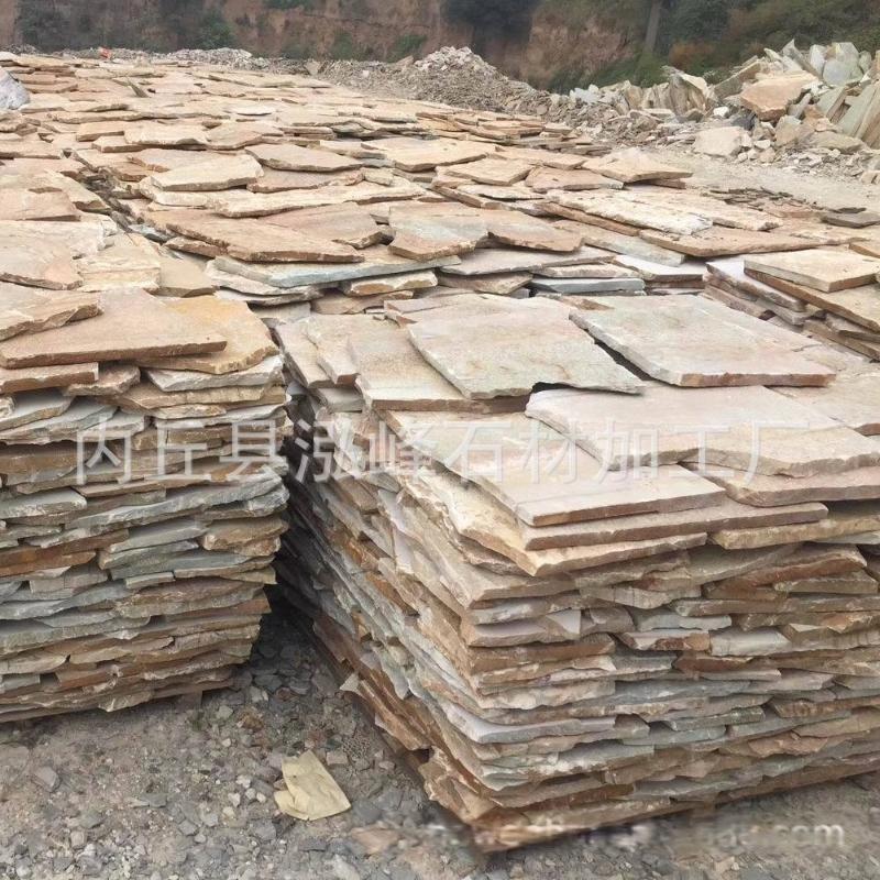 厂家生产天然文化石板岩 黄木纹规格板 锈色板岩地板天然黄色页岩