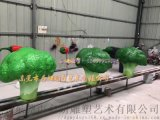 鄉村遊客服務中心模擬玻璃鋼西蘭花雕塑燃爆農民豐收節