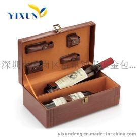 深圳益訊 定做礼品包裝盒 红酒盒 **包裝盒 双支装PU盒
