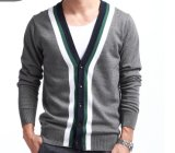 男士韓版V領針織開衫