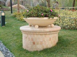 三个圆球石材花钵 人造石花钵 人造砂岩花盆 艺术砂岩花钵