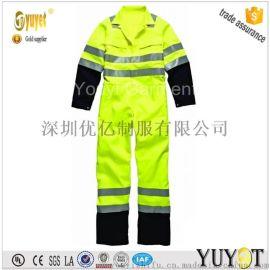 连体工作服/荧光黄连身工衣防护服/阻燃防静电连体服