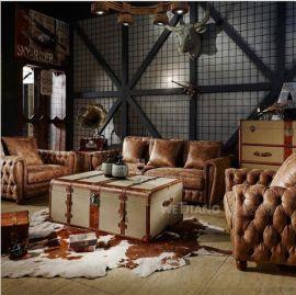 经典美式乡村头层真皮客厅三人沙发 复古拉扣手工沙发