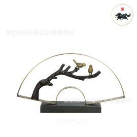 中式现代简约不锈钢古铜黑色春色满园金属样板间别墅茶楼软装摆件