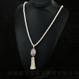 郑州五皇一后天然淡水珍珠定制毛衣链