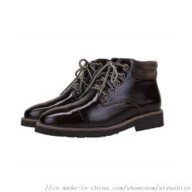 伊豐鞋業品牌光面皮料進口羊皮毛一體保暖女鞋馬丁靴