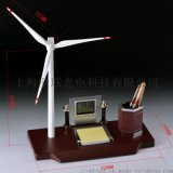 定制辦公桌禮品風車筆筒萬年歷時鍾擺件風力發電機擺件
