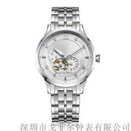 **不锈钢机械男士手表OEM定制时尚全自动机械表