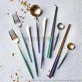 304不锈钢西餐餐具刀叉勺筷子定制颜色logo