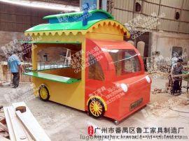 防腐木售货车小吃车流动售卖车促销车小吃车定做手推车美食小吃车