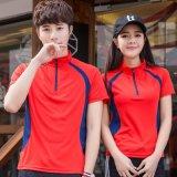 夏季男女情侣装立领短袖运动T恤速干透气网球服羽毛球服大码上衣