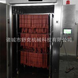 诸城舒克机械供应烟熏炉全自动1000型烟熏烤箱 四川熏腊肉设备