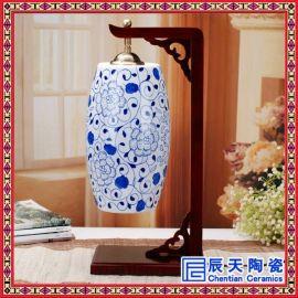 供应陶瓷精美台灯 居家装饰品手绘荷塘清趣陶瓷台灯