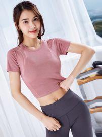 运动上衣女健身跑步紧身训练T恤短款背心显瘦瑜伽服性感露脐上衣