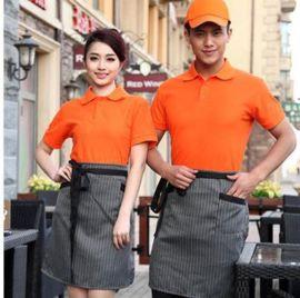 餐饮工作服纯色翻领T恤衫服务员POLO衫工装可根据顾客企业定LOGO