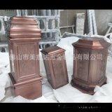 不鏽鋼大門柱子 玫瑰金拉絲異形不鏽鋼包柱子