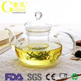 金兰耐高温玻璃花茶壶定制短嘴直火玻璃壶出口提梁茶壶