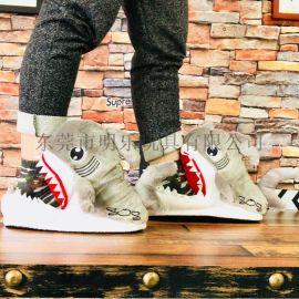 厂家定制毛绒拖鞋卡通动物海洋动物鲨鱼搞怪毛绒拖鞋