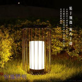 不锈钢圆柱造型落地灯 恒逸落地灯 防水防潮落地灯