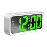 廠家直銷新品鏡面鬧鐘支持手機USB充電時鐘