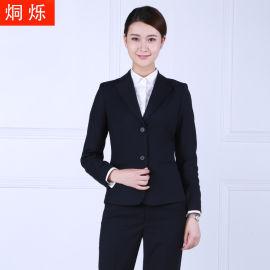 时尚女装两粒扣黑色职业装女士西服套装厂家直销