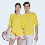 棉五分袖T恤女夏季新款圆领半袖韩版休闲纯色体恤衫工作服工衣