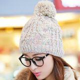 韩版潮冬季大毛球毛线针织帽