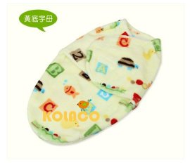 印花法莱绒面料婴幼儿襁褓 新生儿贴身睡袋 超柔舒适