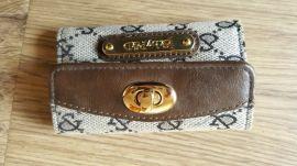 工厂代工贴牌加工生产 厂家批发定制女式机织布钥匙包 真皮包边女士新款休闲零钱包卡包