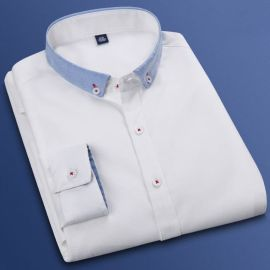 秋季新款拼接牛津紡白襯衫男士長袖韓版修身純色襯衣