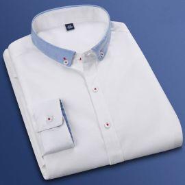 秋季新款拼接牛津纺白衬衫男士长袖韩版修身纯色衬衣