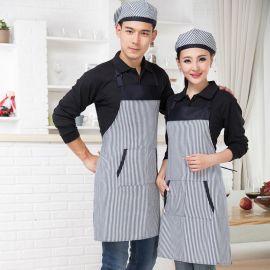 韩版时尚条纹围裙厨房酒店美甲咖啡厅奶茶店蛋糕店厨师工作服批发