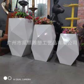 菱形玻璃鋼花盆,幾何花鉢組合,高檔商場寫字樓擺件