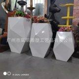 菱形玻璃钢花盆,几何花钵组合,高档商场写字楼摆件