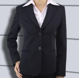 厂家直销 批量供应秋冬暗条纹修身款西服 西服套装女式