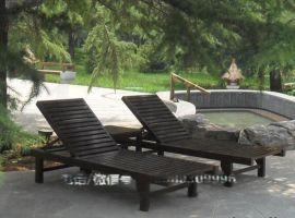 现货木质沙滩床 户外木制躺椅