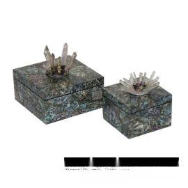 正長方形鮑魚貝殼木質飾品盒天然水晶首飾盒樣板間軟裝工藝品擺件