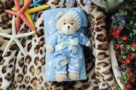 睡衣小熊抱毯空调被蓝色(毯子尺寸:100*75 cm )
