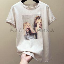夏季时尚韩版女士T恤便宜服装女装上衣几元短袖