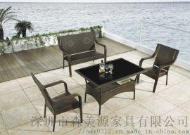 藤椅三件套小茶幾陽臺桌椅組合休閒靠背椅戶外桌椅