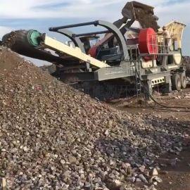 移动式建筑垃圾破碎站 水泥块石子破碎机筛分机厂家